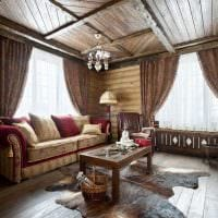 вариант красивого интерьера гостиной в деревенском стиле картинка