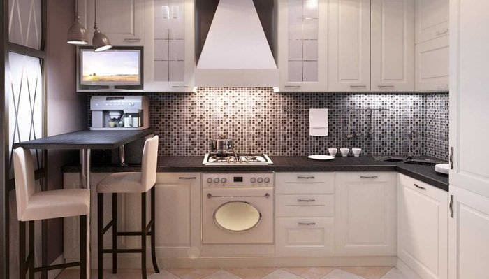 идея оригинального интерьера кухни 3-х комнатной квартиры