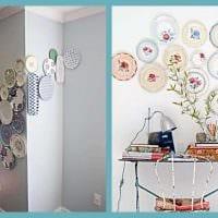 вариант необычного интерьера комнаты с декоративными тарелками на стену фото