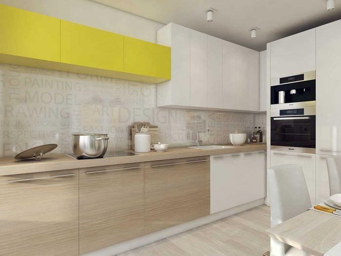 вариант необычного дизайна кухни 3-х комнатной квартиры