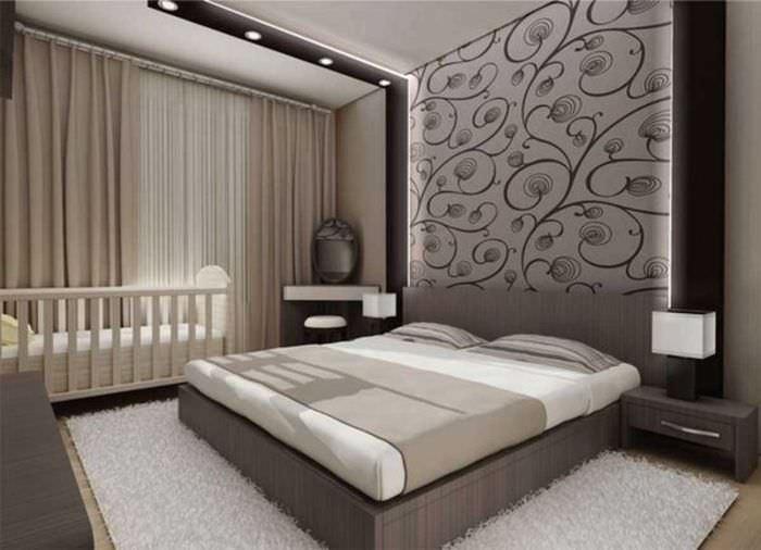 вариант оригинального декорирования интерьера спальной комнаты