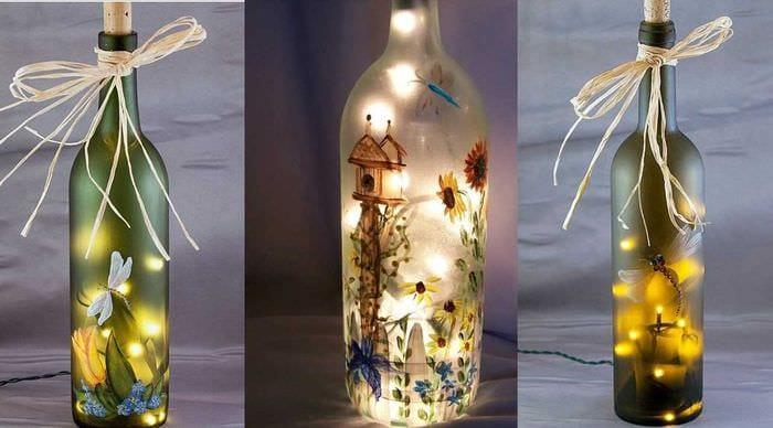 идея стильного декорирования бутылок красками