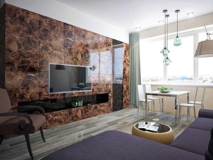 вариант яркого украшения интерьера гостиной