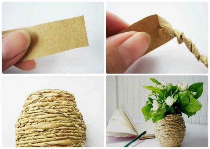 идея необычного оформления напольной вазы