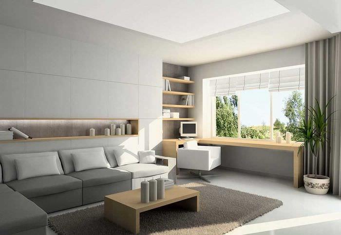 вариант красивого дизайна гостиной комнаты 17 кв.метров