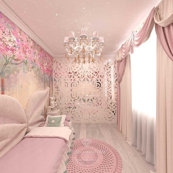 вариант яркого дизайна комнаты для девочки