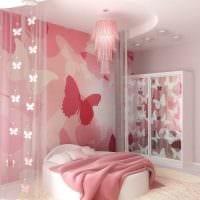 вариант красивого интерьера спальни для девочки фото