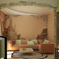 вариант яркого оформления интерьера гостиной картинка
