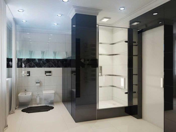 вариант оригинального интерьера белой ванной комнаты