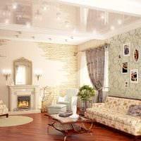 вариант необычного украшения интерьера гостиной картинка