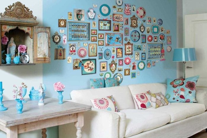 вариант оригинального декорирования стен в помещениях
