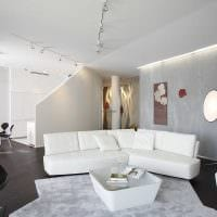вариант красивой декоративной штукатурки в интерьере квартиры под бетон фото