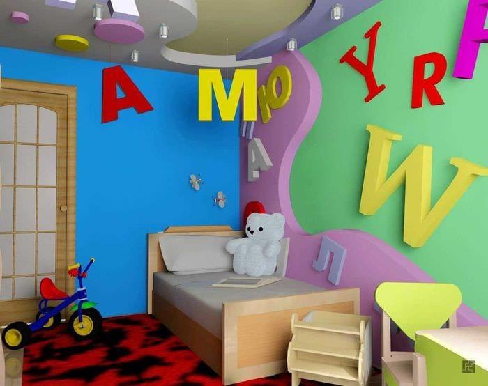 идея использования декоративных букв в дизайне помещения
