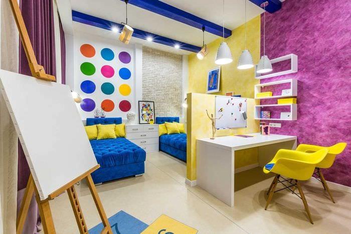 идея красивого декора детской комнаты для двух мальчиков