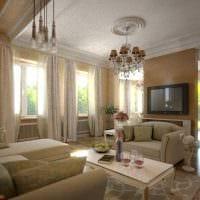 вариант светлого дизайна зала в частном доме картинка