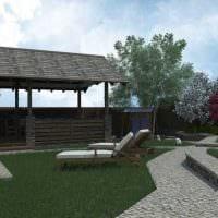 идея красивого декорирования двора частного дома картинка