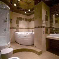 идея яркого интерьера большой ванной комнаты фото