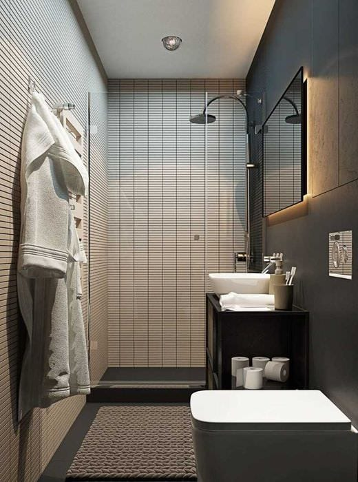 вариант современного дизайна ванной 3 кв.м