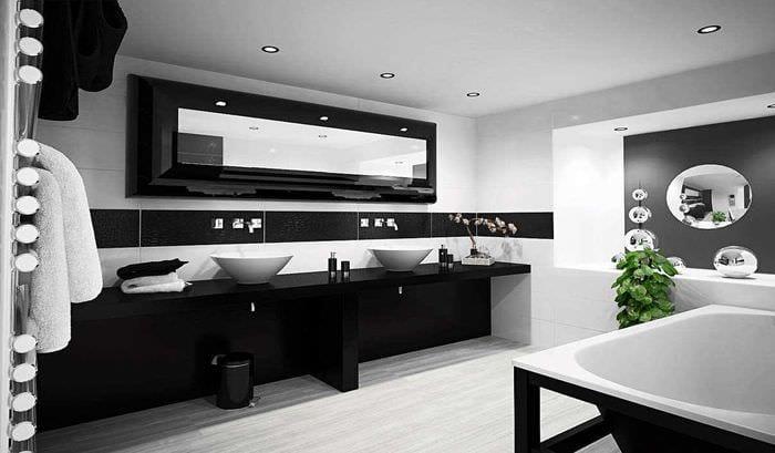 вариант необычного стиля ванной в черно-белых тонах