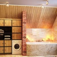 идея современного интерьера ванной с окном картинка