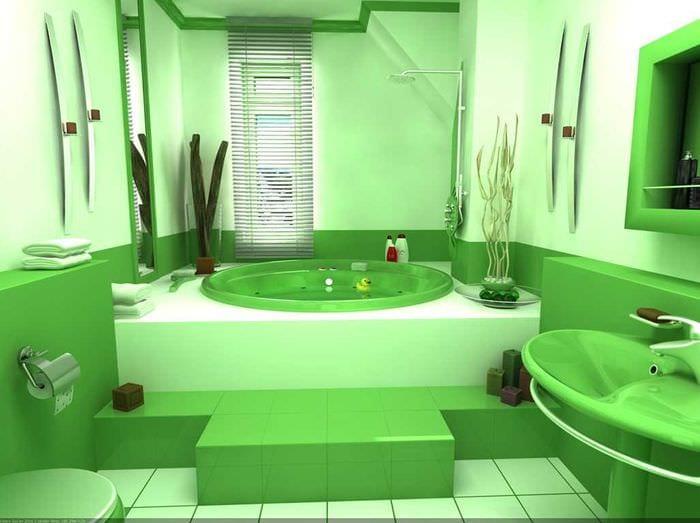 вариант красивого интерьера ванной комнаты с окном