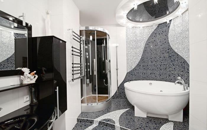 идея современного интерьера ванной в черно-белых тонах