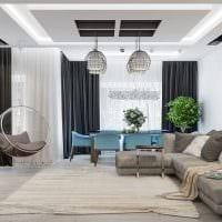 вариант красивого интерьера зала в частном доме картинка