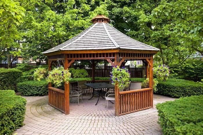 Фото беседок или дизайн двора около дома 129