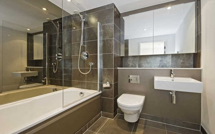 вариант красивого дизайна ванной комнаты 2017