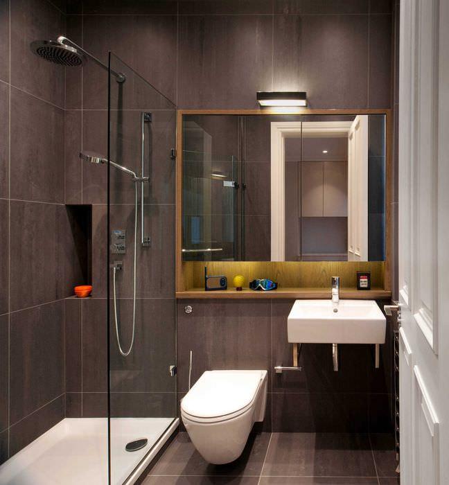 вариант яркого интерьера ванной комнаты 3 кв.м