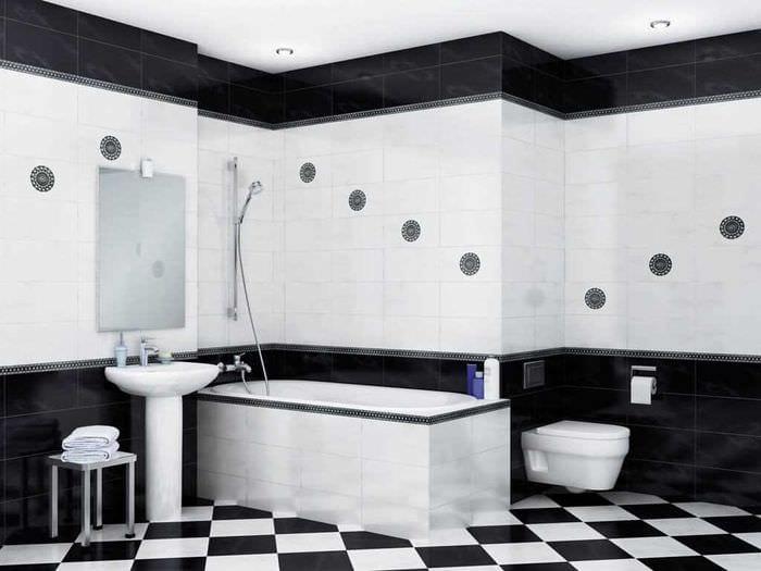 идея яркого дизайна ванной в черно-белых тонах