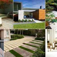 идея светлого ландшафтного дизайна частного двора фото