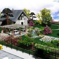 идея яркого ландшафтного дизайна частного двора фото