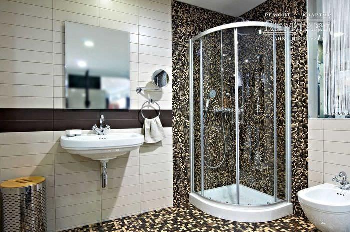вариант современного интерьера большой ванной комнаты