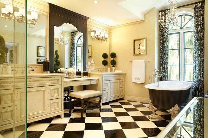 идея светлого стиля ванной в классическом стиле