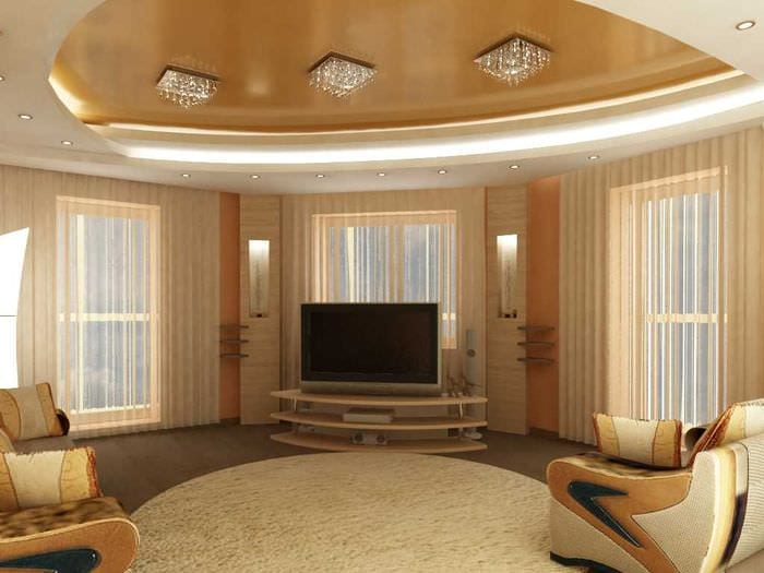 вариант светлого декора зала в частном доме