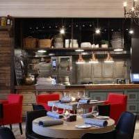 вариант яркого интерьера кафе в стиле лофт картинка