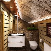 вариант современного интерьера ванной в деревянном доме фото