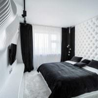 вариант яркого интерьера белой спальни картинка