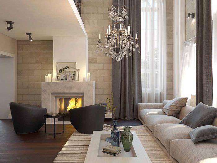 идея красивого интерьера дома со вторым светом
