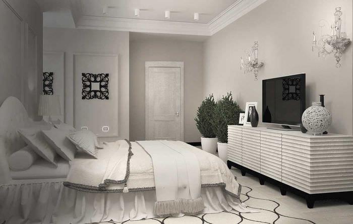 идея современного стиля белой спальни