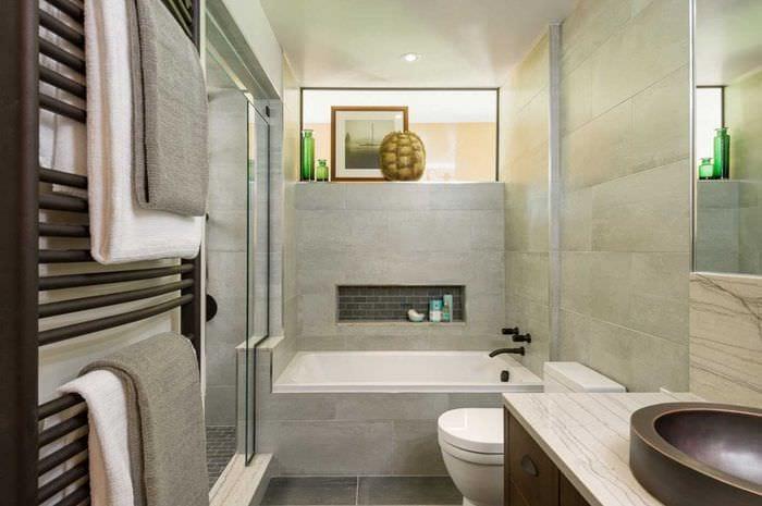 вариант современного стиля ванной комнаты 2017