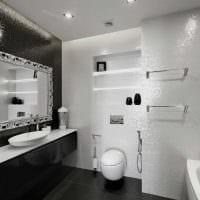 идея красивого дизайна ванной комнаты в черно-белых тонах фото