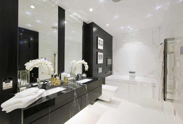 вариант красивого дизайна ванной в черно-белых тонах