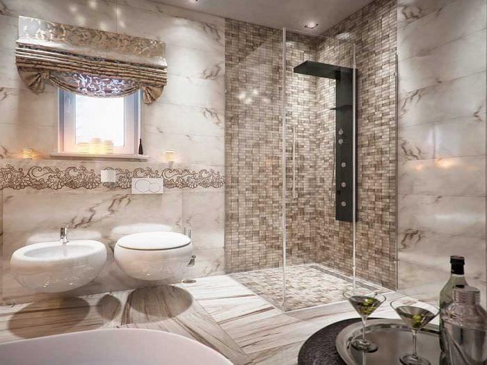 вариант красивого стиля ванной комнаты с окном