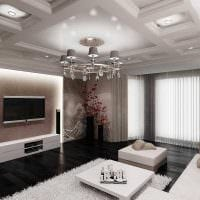 вариант светлого декора гостиной в частном доме фото