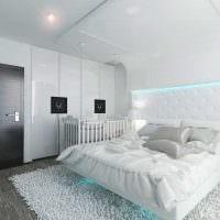 идея современного дизайна белой спальни картинка