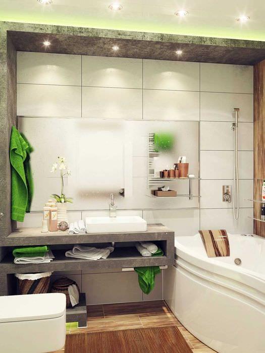 идея яркого интерьера ванной комнаты 4 кв.м