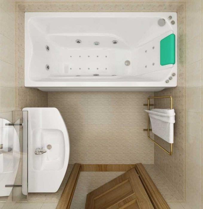 вариант яркого дизайна ванной комнаты 3 кв.м