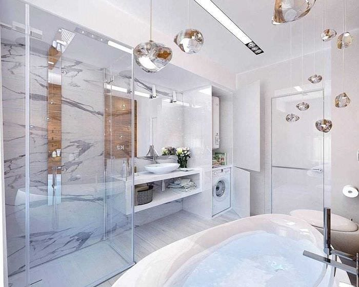 идея необычного дизайна ванной комнаты 6 кв.м